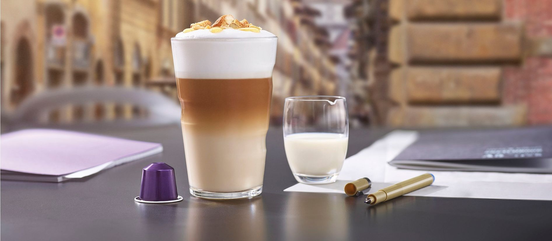 Cantuccini Pinenuts Honey Latte Macchiato - Nespresso Recipes